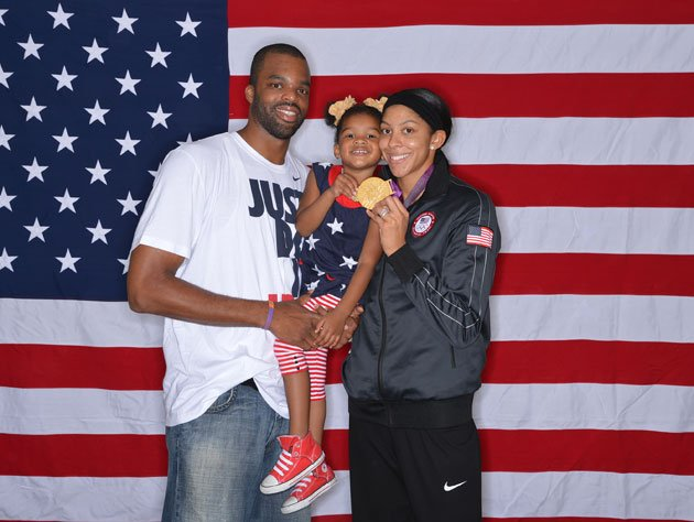 Family photo of the basketball player, married to Shelden Williams,  famous for Olympics & Los Angeles Sparks.