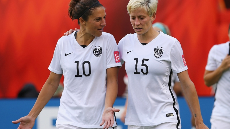 Carli Lloyd and Megan Rapinoe are two of the five star players who filed a wage complaint against U.S. Soccer. The players say that the whole team supports their case, which accuses the national federation of paying male players far more money.