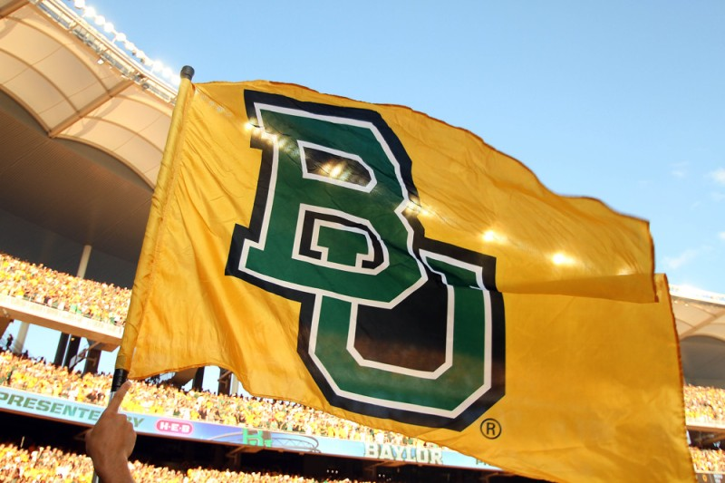 31 August 2014: The Baylor Bears flag flies before the football game between the Baylor Bears and the Southern Methodist Mustangs at McLane Stadium in Waco, Texas. Baylor beat SMU 45-0.